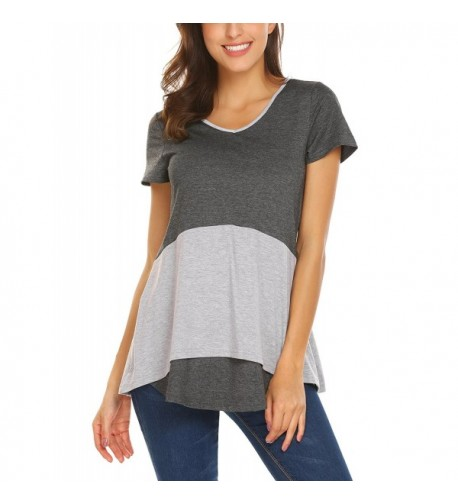 EASTHER Womens Sleeve Colorblock Ruffle