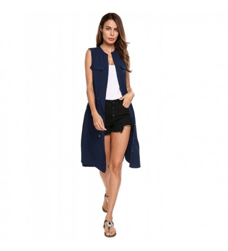 Beyove Womens Sleeveless Cardigan Pockets