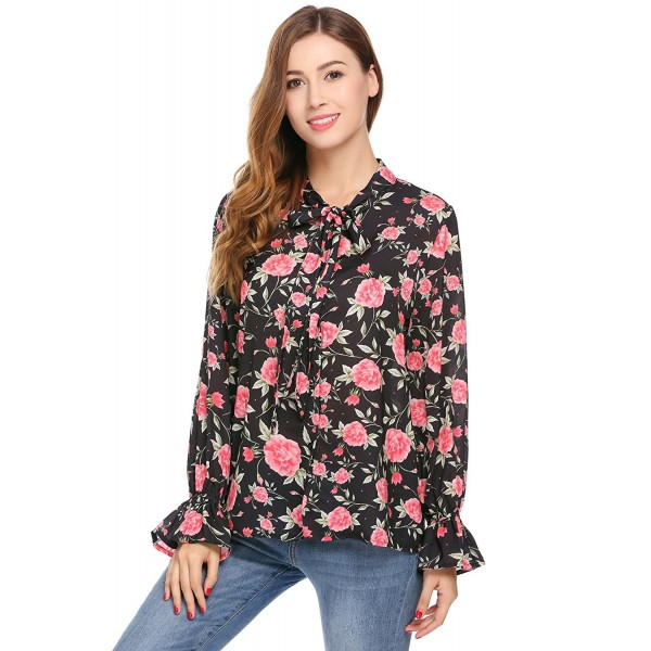67103339585ac7 Women's Bow Tie Neck Bell Sleeve Floral Shirt Blouse - Style 1 ...