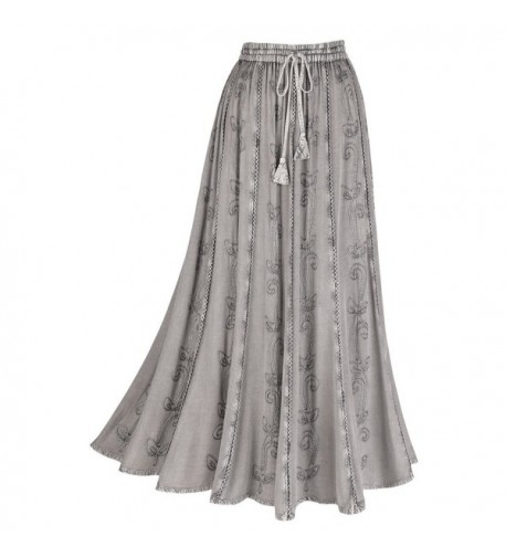 Womens Embroidered Broom Peasant Skirt