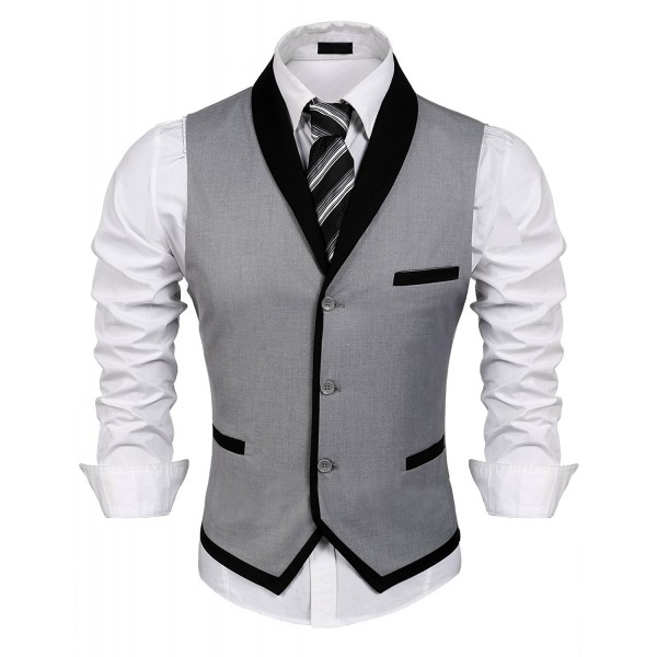 aa5d47c22 ... Men s V-Neck Sleeveless Slim Fit Vest-Jacket Business Suit Dress Vest -  Grey - C7184HLX3ZH. JINIDU V Neck Sleeveless Jacket Business