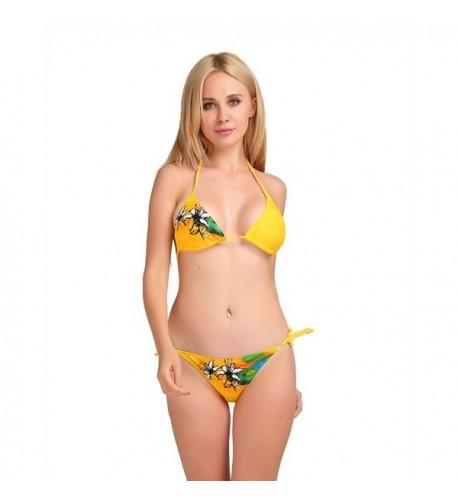 CozyBlue Floral Triangle Bikini Yellow