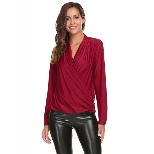 13994c947375bf ... Women's Sexy Deep V-Neck Blouse Pleated Wrap Front Surplice Club Wear  Top - Wine Red - CU186AQS6CR. Zeagoo Women Crossover Sleeve Blouse