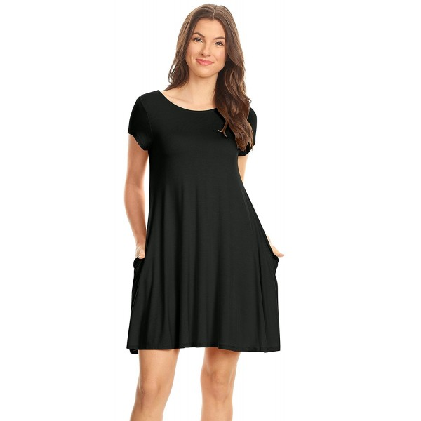 5e962eeadd5 ... Flowy Tunic Dress With Pockets reg and Plus Size - USA - Black -  C612CLPGRSR. Simlu Womens Sleeves Tshirt Pockets