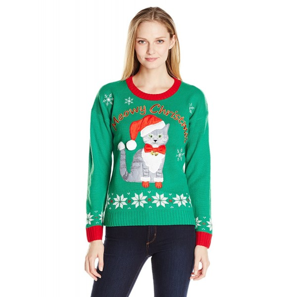 Plus Size Ugly Christmas Sweater.Women S Plus Size Meowy Cat Ugly Christmas Sweater With Bells Green Red Cb12m2gyekd