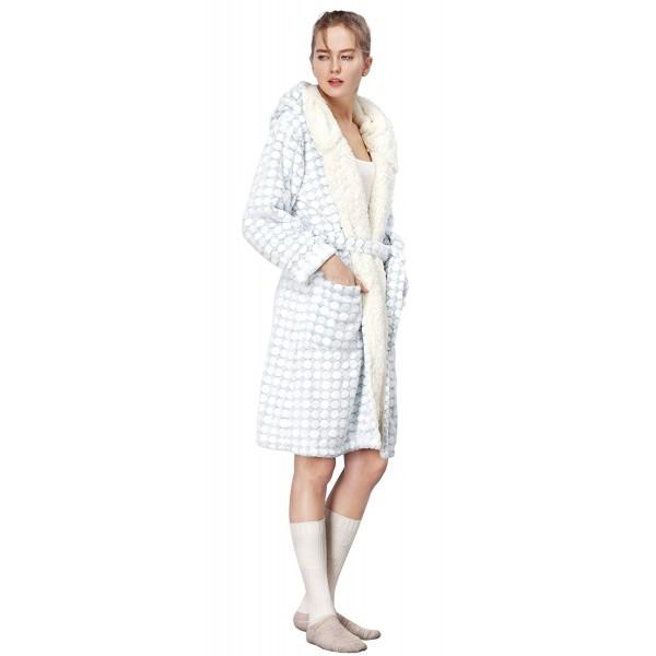 Women s Soft Hooded Robe - Blue 3D Fleece Fabric with Cream Hood ... aa4394a31