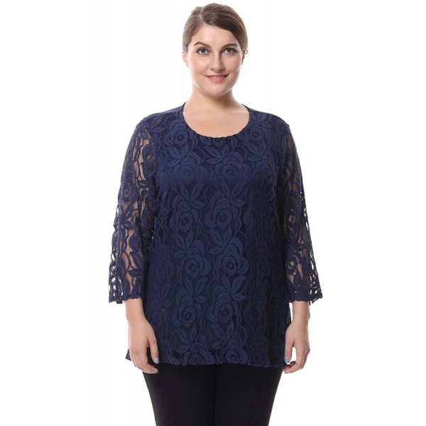 08290274c02 Women's Lined Plus Size Lace Top Blouse 3/4 Sleeves M-4XL - Navy ...