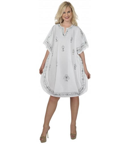 Womens Embroidered Swimwear Beach Caftan