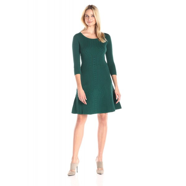 6820563508 Women s Petite 3 4 Sleeve Fit and Flare Sweater Dress - Hunter ...