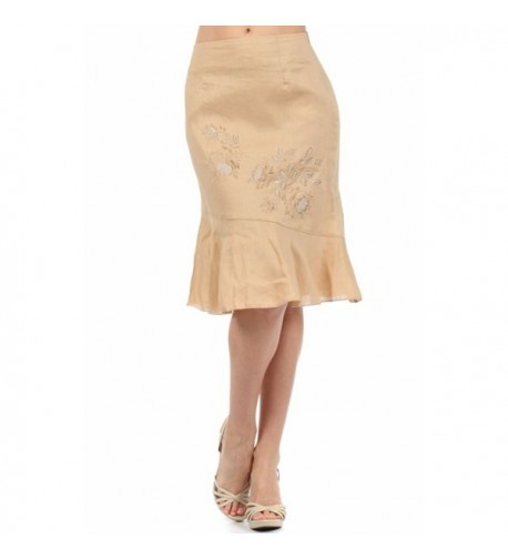 Womens embroidered knee length asymmetrical Turquoise