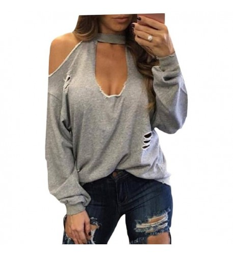 Coolred Women Hollow Colored Ripped Sweatshirt