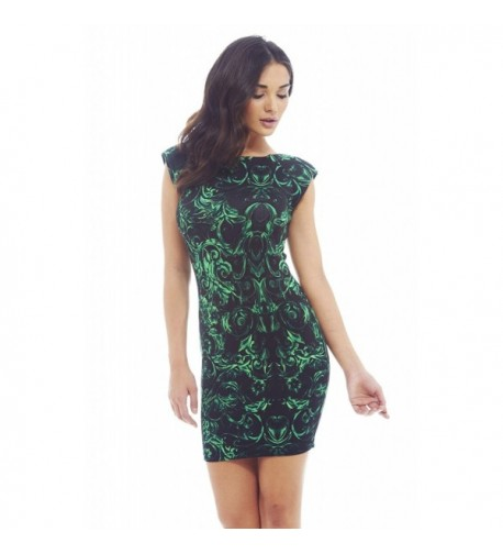 Paris Sholuder Printed Green Bodycon