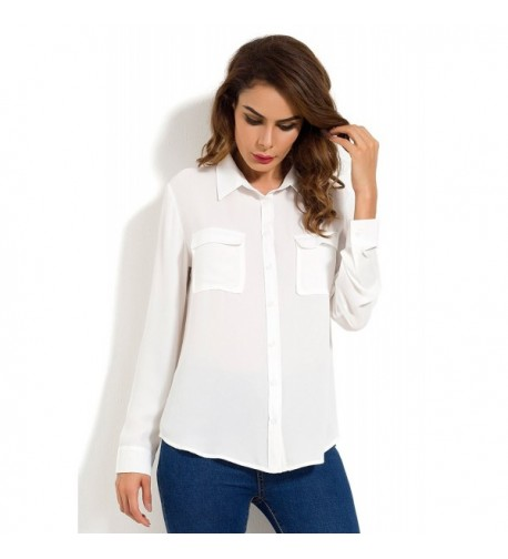 Womens Casual Button Pockets Chiffon