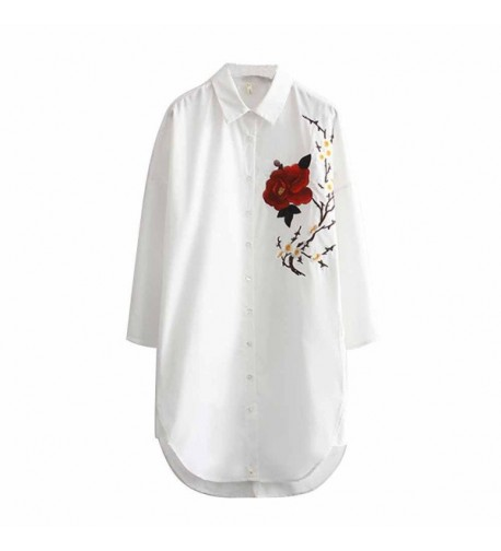 Viport Womens Floral Embroidery Blouse