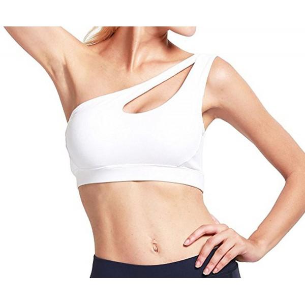 1a3d4f3809ac2 Womens One Shoulder Sports Bra Cute Sexy High Impact Workout Bra ...