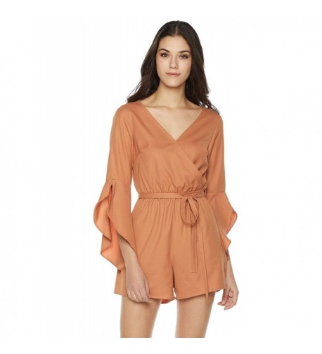 Plumberry Womens Ruffle Sleeve Romper