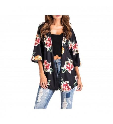 DINGANG Womens Floral Sleeve Cardigan