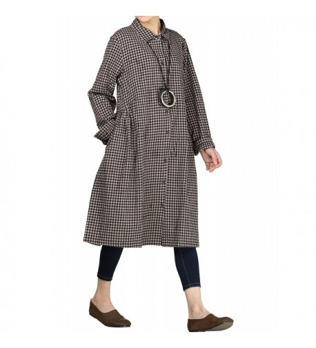 Mordenmiss Womens Check Pleated Pockets