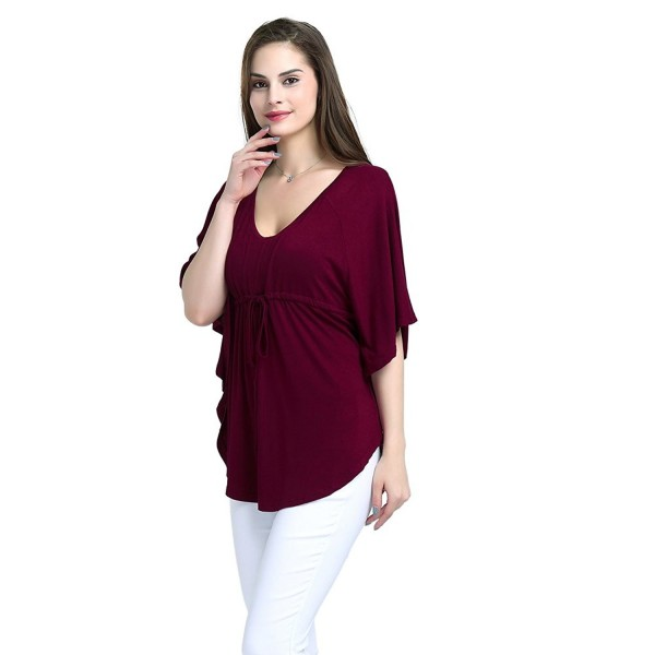 aa8896046b4 ... V-Neck Casual Loose Fit Tunic Shirt Batwing Short Sleeve Blouse Top (S  - 4XL) - Dark Red - C41822MRHIA. Yagoor Womens Drawstring Tailored Batwing