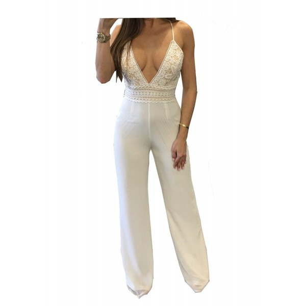 eec95586aac ... Women s Sexy Sleeveless Adjustable Strap Backless Romper Tank Jumpsuit  - White - C3180EOT8OH. Vilover Womens Sleeveless Waist Jumpsuit