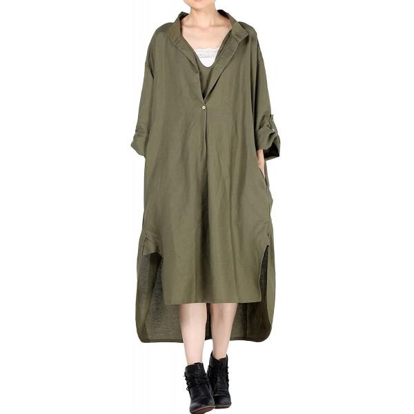 Women S New Hi Low Hem Plus Size Dresses With Pockets Green C212n2szalx
