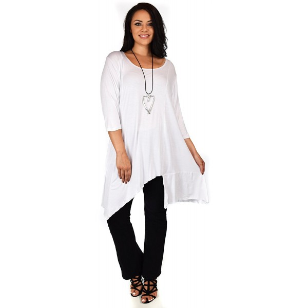 Women Plus Size Asymmetrical Long Tunic Shirt Dress Top - White -  CZ186Y5QIRG