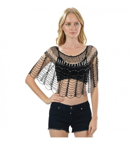 Metallic Beaded Crochet Flapper Black Silver