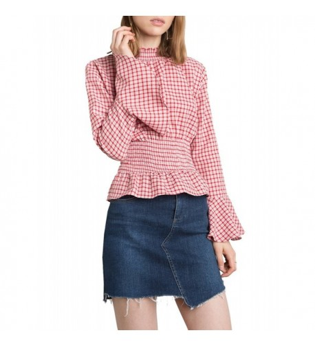 HaoDuoYi Womens Gingham Smocked Sleeve