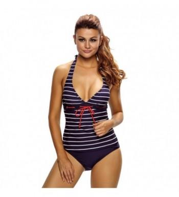 Aleumdr Nautical Striped Tankini Swimsuit
