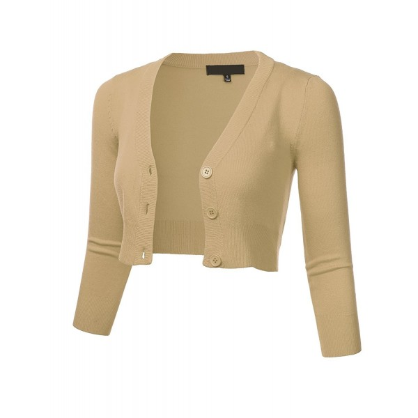 15a37217192207 ... Women Solid Button Down 3/4 Sleeve Cropped Bolero Cardigan Sweater  (S-4X) - Fsw010_taupe - CB184HG8N3A. FLORIA Button Cropped Cardigan Sweater