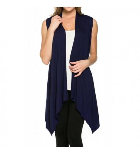 Azules Womens Sleeveless Asymetric Cardigan