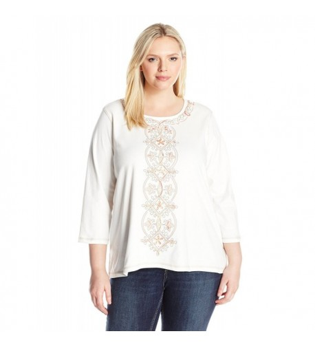 Alfred Dunner Womens Center Embroidery