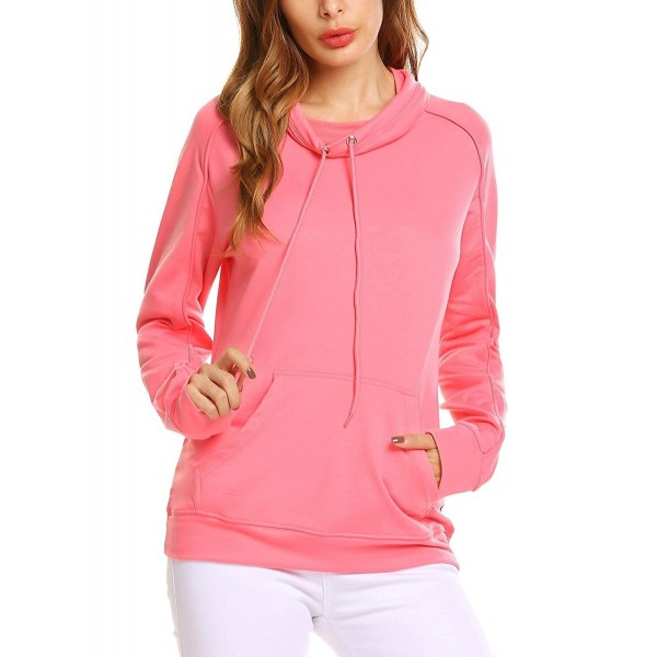 05a9e418 ... Women's Long Sleeve Cowl Neck Drawstring Pullover Sweatshirt With Pocket  - Rose Pink - C018695H3G2. Zeagoo Sleeves Pullover Sweatshirts Kangaroo
