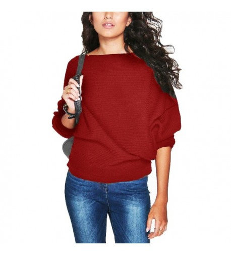 Hqclothingbox Batwing Sweater Pullover Knitwear