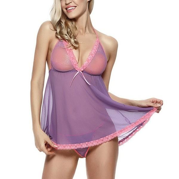 9376d09c6e3ac Women's Lace Babydoll Purple Sexy Lingerie Set - Purple - CM18366TO8Z