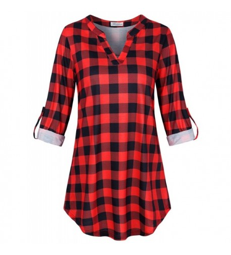 Faddare Checked Blouse Ladies Knitted