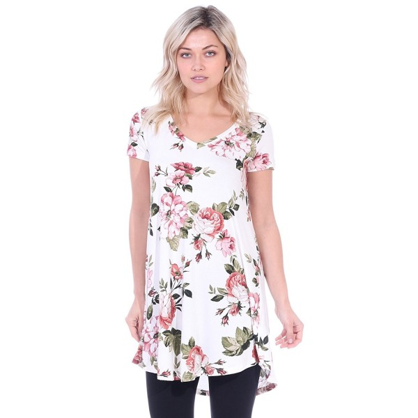 a45dfbde2f2 Women's Short Sleeve Tunic Top Loose Fit Shirt - Wear With Leggings ...