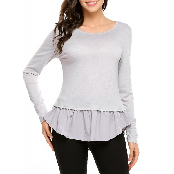 6f10310de81f60 Women Long Sleeve Casual Round Neck Patchwork Ruffle Hem Dressy Tops ...