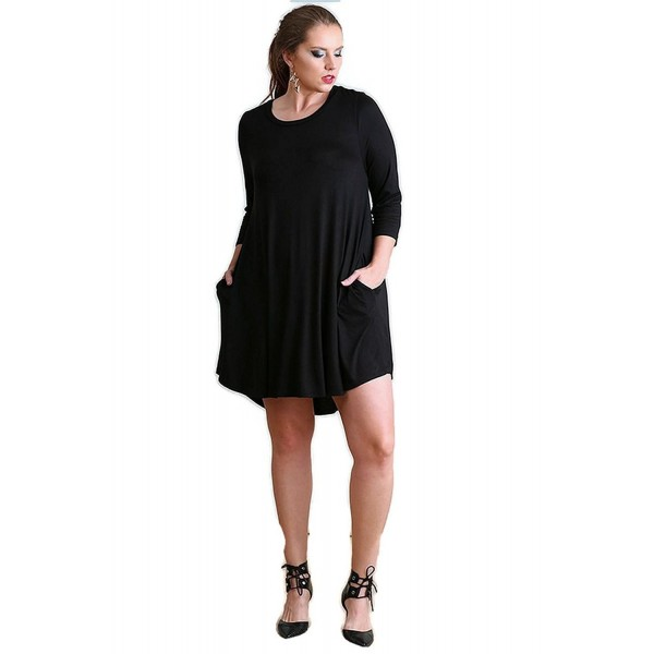 Boho Chic Scalloped Hem T-Shirt Dress reg & Plus Size - Black - CZ12MEFJ65Z