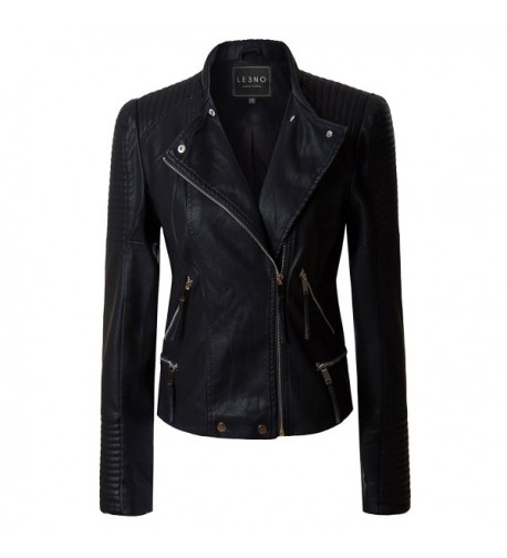 LE3NO Womens Vintage Quilted Leather