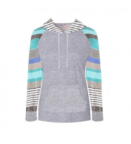 MIROL Striped Pullover Kangaroo Sweatshirt