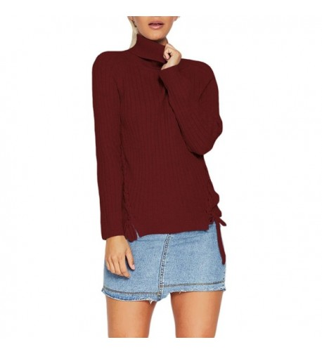 Viottis Turtleneck Lace up Pullover Sweater