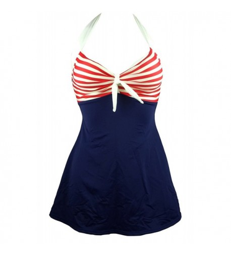 Cocoship Striped Swimsuit Skirtini Swimdress
