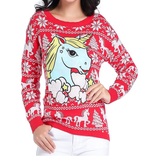Christmas Sweaters Cute.Ugly Christmas Sweater Women Girl Junior Unicorn Clothes Jumper Red Sweater Cute Unicorn Ca18525h3c5
