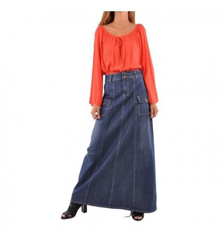 Style Appealing Cargo Denim Skirt Blue 28