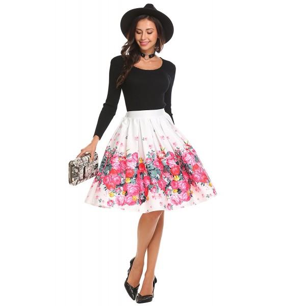 e461a4ac0b4aa Women's High Waist Floral A Line Flared Midi Skirts With Elastic Waist Band  - Pat4 - CC187UCU30Z