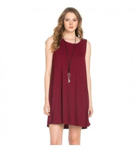 Womens Sleeveless Dresses Burgundy Medium