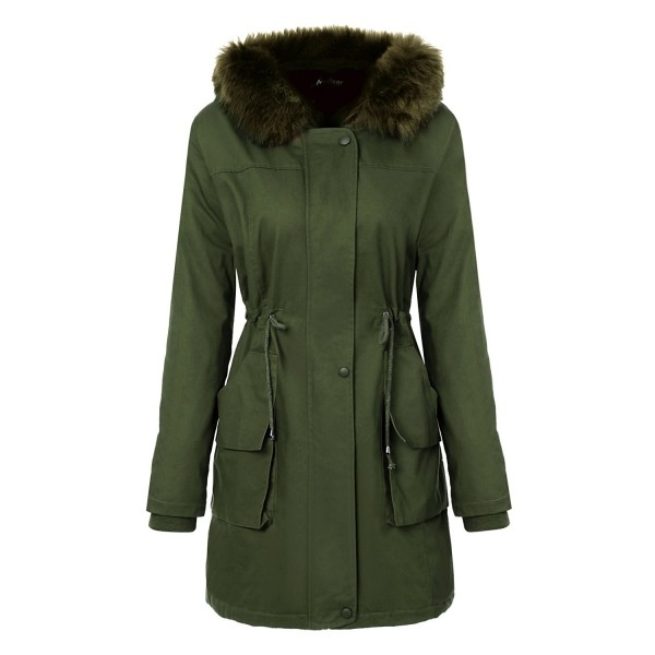 2b05fd36ea861 Womens Hooded Warm Coats With Faux Fur Lined Parkas And Waist ...