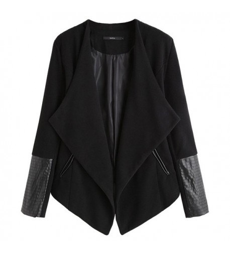 DEZZAL Womens Leather Asymmetrical Draped