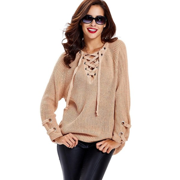 Women s Lace-up Loose Chunky V Neck Long Sleeve Sweater Knitwear ... bb3f37f2c